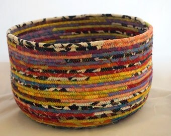 Large, Colorful Fabric Clothesline Basket