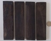 African Macasser Ebony Wood, 4 Pieces, Drawer Pulls, Letter Openers, Jewelry, Inlaid Wood Items, Barrettes