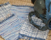 Handwoven Coasters in Blue and Cream - Eco Friendly Mug Rugs - Set of 4 Coasters