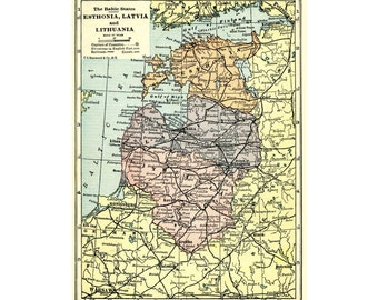 Baltic States 1923 vintage map for instant printable digital download in pastel colors.  Estonia, Lithuania, Latvia. Background image.
