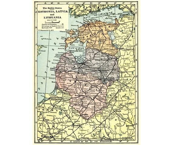 Baltic States Vintage Map For Instant Printable Digital - Estonia map download