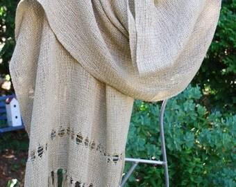 Handwoven Linen Blend Shawl/Scarf