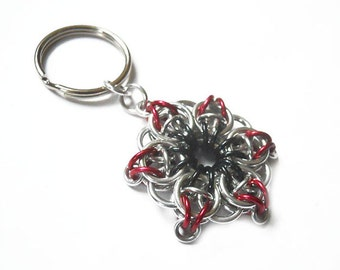 Star key chain, Red, black, and silver star, Small red and black star key ring, Celtic Visions Star chainmaille weave