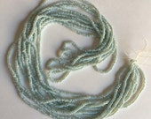 Vintage European Micro Seed Beads -  PALE GREEN BLUE pearl