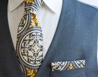 Necktie, Neckties, Mens Necktie, Neck Tie, Mens Necktie, Groomsmen Necktie, Ties, Wedding Neckties, Grey And Yellow Ties - Granite Ironwork