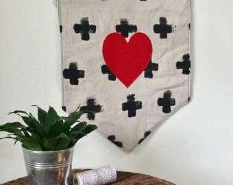 Reversible State and Heart Banner, Wall Hanging