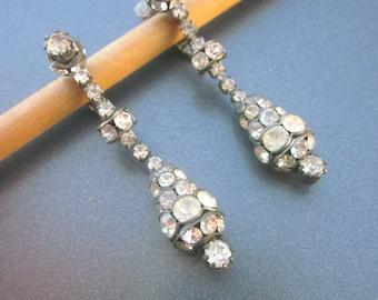 Vintage Rhinestone Dangle Clip On Earrings Crystal Wedding Jewelry