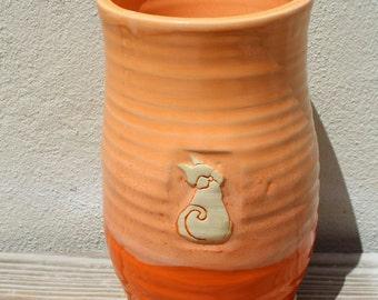 Vase. Vases. Cat. Wedding Gift. Housewarming Gift. Anniversary Gift. Orange. Ceramic. Gifts for the Couple. Tangerine. Home Decor. Cats.