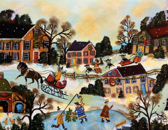 Primitive Folk Art Painting Christmas Holiday Colonial Village original art by self-taught artist Sharon Eyres
