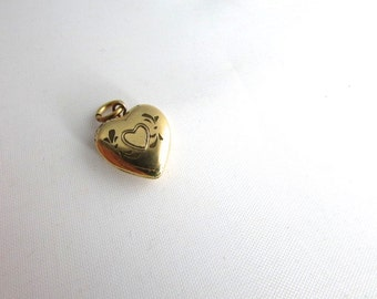 Heart Locket Charm Sweetheart Engraved Vintage Gold Filled  Valentines Day