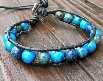 Bright Blue Beaded Wrap Bracelet - Single Wrap Bracelet, Blue Imperial Jasper Beads, Black Leather Bracelet
