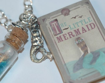 The Little Mermaid Necklace , Mermaid Charm Necklace