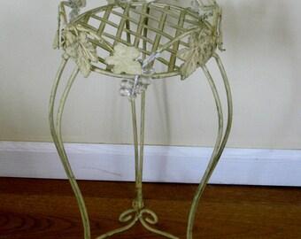 Vintage Plant Stand, Ivy Leaves, Metal Scrolls Three Legged Basket Weave Plant Holder, Shabby Cottage Chic Garden Patio Porch Decor