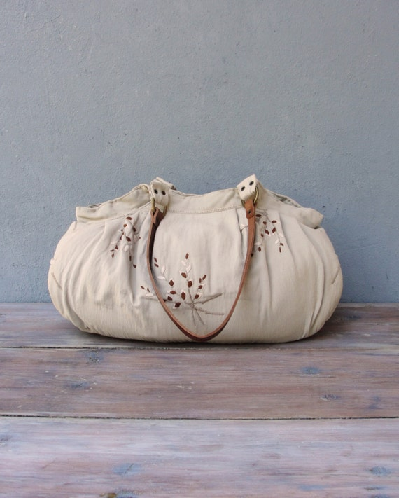 Embroidered Linen Bag, Vintage Linen with Hand Embroidery, Leather Straps, Roomy Hobo bag