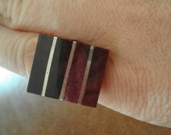 Vintage Mexican Mexico Silver 950 Marked Tourmaline? Purple Sodalite? Stone Ring Size L