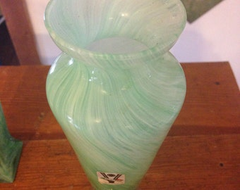 Vintage Green murano art glass vase from Italy