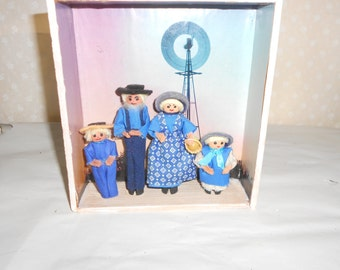 3-D Amish family in Shadow box