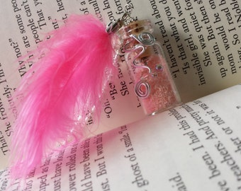Fairy Glitter Bottle Necklace Light Pink w/ Pink Feather, Crystals & Wire - .925 Silver Chain