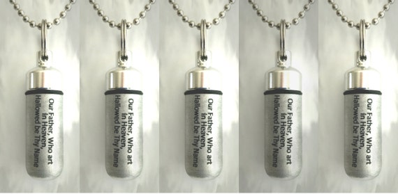"Set of 5 ENGRAVED Brushed Silver Anointing Oil Holder/Vial Necklaces ""Our Father Who art in Heaven""  - Includes Velvet Pouches & Funnel"