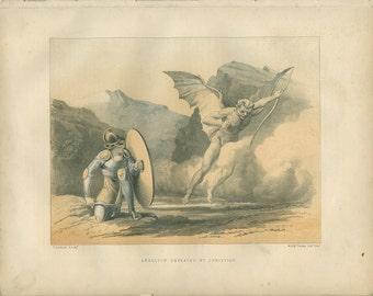 Sale 20% off Pilgrim's Progress, Apollyon Defeated by Christian, John Bunyan, Chromolithograph 1868/46, Victorian Religious Art, Home Decor