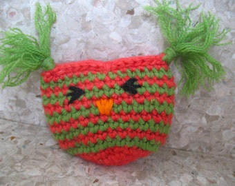 ONE Owl Cat Toy Pouch High Quality organic catnip/valerian mix by Catopia9, hand-crochet, wool/bamboo yarn.  FREE SHIPPING