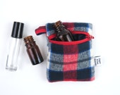 Plaid Mini Essential Oil Zippered Pouch - Red White and Blue - roller bottle case travel case essential oil storage IEM case, earbud holder