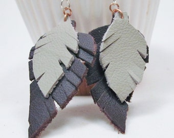 Leather Feather Earrings Leather Earrings Sterling Silver Ear Wires