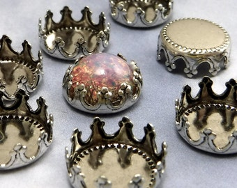 11mm Brass Crown Settings 6 pcs Antique Silver Cabochon Crown Edge Stamping M-13