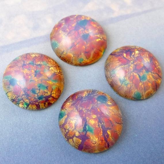 Vintage Glass Cabochon 4 pcs 18mm Pink Fire Opal Stones S-99 P