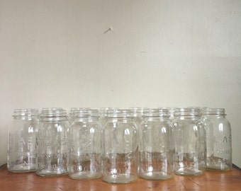 Huge Lot of Vintage ATLAS Mason Jars. Set of 13. Wedding Decor, Bridal Shower, Baby Shower. Home Decor. Unique Storage.