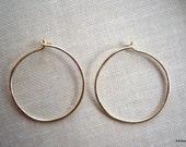 Brass Hoop Earrings Simple Round Hammered Hoops 20 Gauge Handmade Jewelry