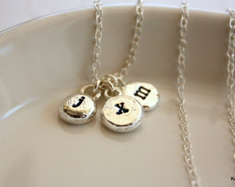 Custom Initials Necklace, Silver Personalized Necklace, Hand Stamped, Dainty Mom Necklace
