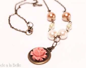 Rose pendant with pearls - necklace - antique tone