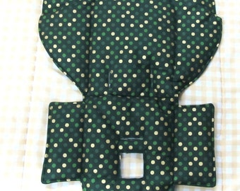 Evenflo high chair pad, high chair cover,chair replacement pad, baby accessory, child care, feeding chair pad,green with gold metallic dots