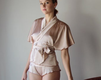 silk spandex wrap style bed jacket - ALICE silk charmeuse with spandex bridal range - made to order