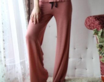 womens pajama pants lounge pants - wool blend womens lounge wear lingerie and sleepwear range - MALLARD - made to order