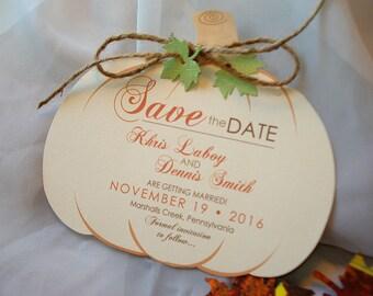 Pumpkin Hand Cut Ivory Linen Wedding Save the Date Set... SAMPLE