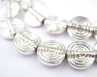 54 Baule-Style Circular Silver Beads - African Silver Beads - Flat Circular Beads - Tribal Metal Beads - Flat Silver Beads (MET-FLT-SLV-349)