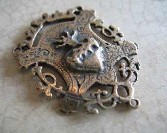 Bronze Rosary Center Connector Large Connector Rosary Parts Sacred Heart B1299LS