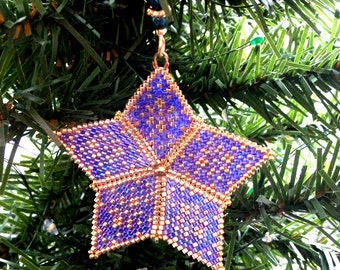 Star Christmas Ornament Tree Decoration in navy blue and gold peyote stitch with custom hanger