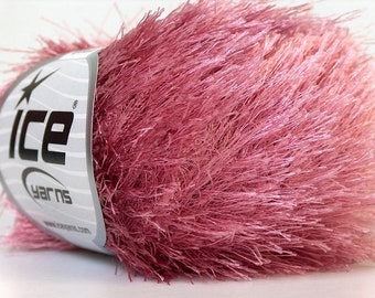 ROSE PINK eyelash yarn bulky chunky 50gr polyester ice yarns usa dark fancy fun fur craft rug 1 skein ships from usa at usps cost 22771