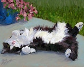 Cat on a Hot Day, 8x10 Original Oil Painting on Panel by Alice Leggett
