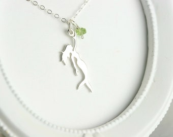 Mermaid Necklace - Silver Nautical Necklace - Sterling Silver Mermaid Necklace - Beach Wedding Necklace - Silver At the Beach Necklace