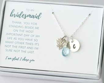 Silver Bridesmaid Necklace - Custom Bridesmaid Gift - Personalized Birthstone Necklace - Wedding Jewelry in Sterling Silver or Gold