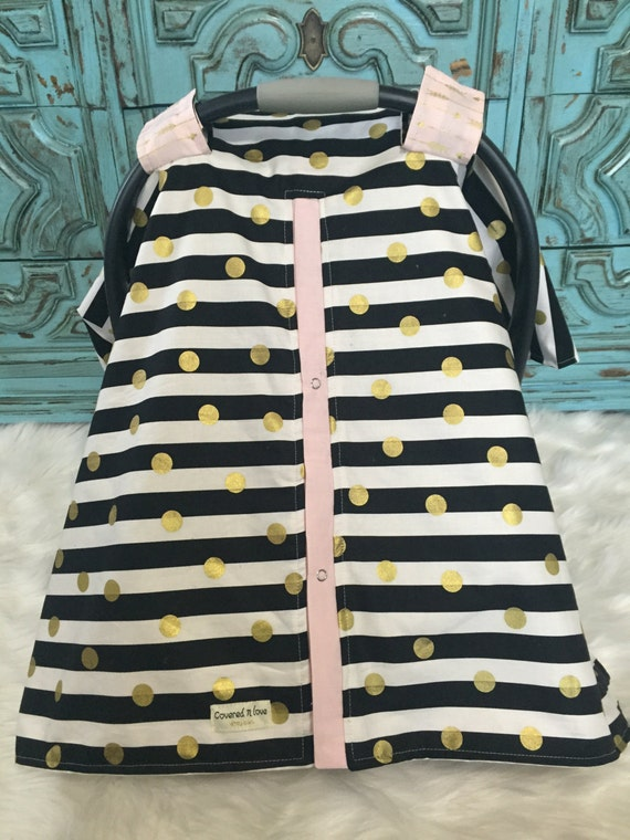Carseat Canopy Black Pink and Gold  / Car seat cover / car seat canopy / carseat cover / carseat canopy / nursing cover