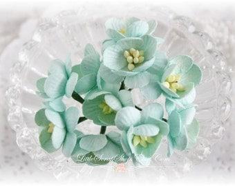 Mint Cherry Blossoms~ Set of 10 for Scrapbooking, Cardmaking, Altered Art, Wedding, Mini Album
