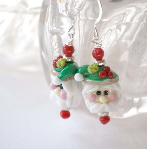 Santa Claus Earrings, Christmas Earrings, Lampwork Glass Earrings, Holiday Jewelry, Chris Kringle, Saint Nicholas