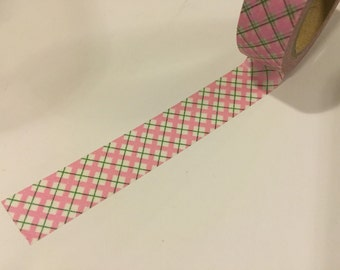 Pink and green argyle washi tape sample 18""