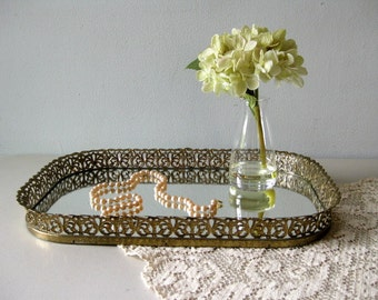 Vintage mirror tray Vanity tray Mirrored oblong dresser tray