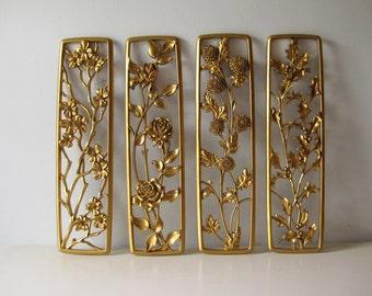 Vintage Syroco gold four season plaques Syroco wall decor 1954 set of four seasons wall decor